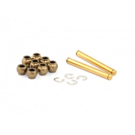 Radtec Xray X1 Hard Coated Aluminum Front Suspension Pivot Balls & Titanium Coated Kingpin Set