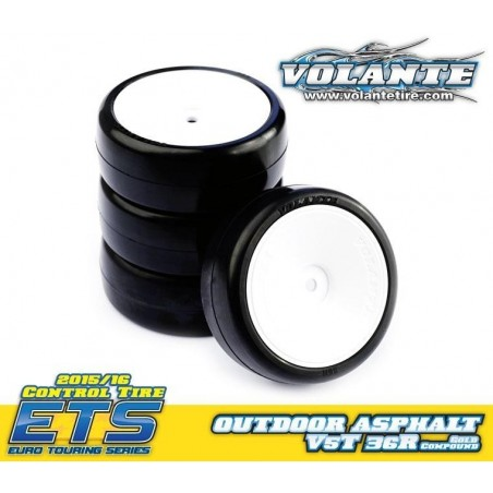 Volante V5 1/10 TC 36R Outdoor Asphalt Rubber Tire Preglued (4pcs)