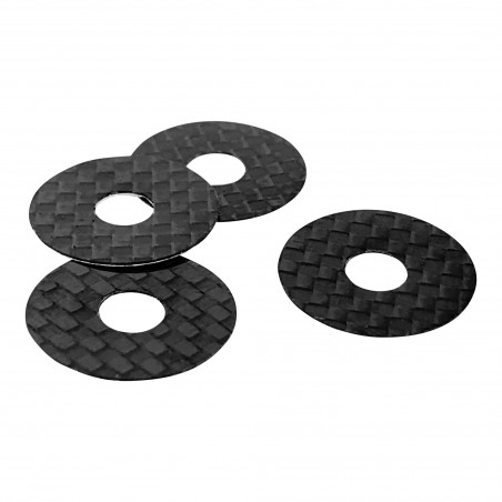 1up Racing Carbon Fiber Body Washers - Adhesive Backed - 6mm Post - 4 Pack