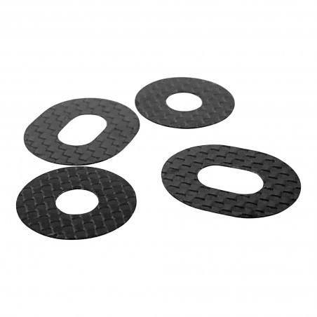 1up Racing Carbon Fiber Body Washers - Adhesive Backed - 1/8 Off-Road - 4 Pack