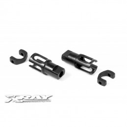 XRAY 305137 - Steel Solid Axle Driveshaft Adapters - Hudy Spring Steel (2)