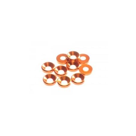 Hiro Seiko 3mm Alloy Countersunk Washer (10pcs) Orange